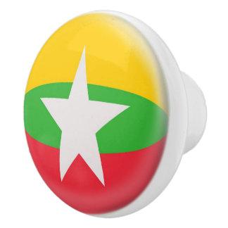 Myanmar Burma Burmese Flag Ceramic Knob
