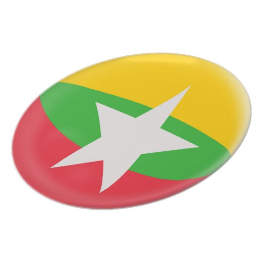 Myanmar Burma Burmese Flag Plate