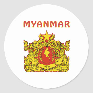 Myanmar Coat Of Arms Classic Round Sticker
