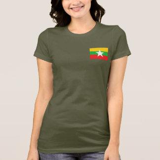 Myanmar Flag and Map dk T-Shirt