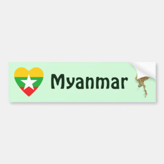 Myanmar Flag Heart + Map Bumper Sticker