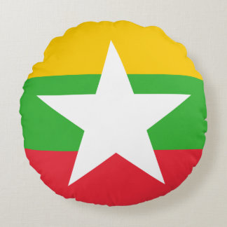 Myanmar Flag Round Pillow