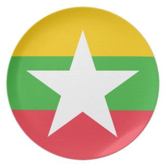 Myanmar National World Flag Plate