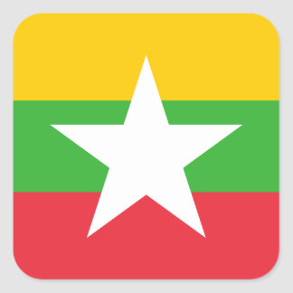 Myanmar National World Flag Square Sticker
