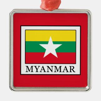 Myanmar Silver-Colored Square Ornament