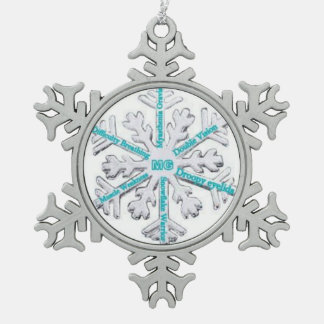 Myasthenia Gravis Awareness Teal PewterOrnament Snowflake Pewter Christmas Ornament