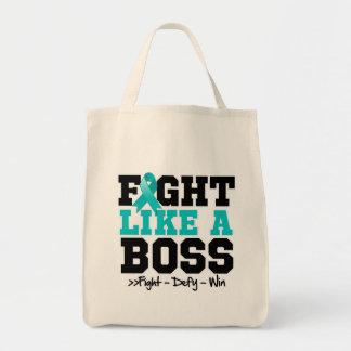 Myasthenia Gravis Fight Like a Boss Grocery Tote Bag