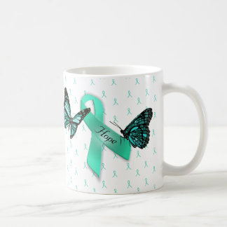 Myasthenia Gravis Hope Teal Ribbons Coffee Mug