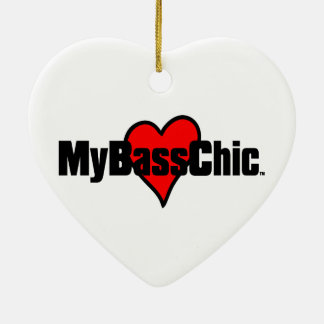 MyBassChic(tm) Crimson Heart Ceramic Ornament