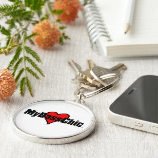 MyBassChic(tm) Crimson Heart Silver-Colored Round Keychain