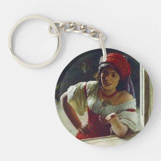 Mykola Yaroshenko- Gypsy Woman Single-Sided Round Acrylic Keychain