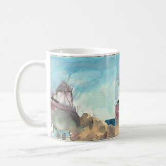 Mykonos famous windmills on a cup