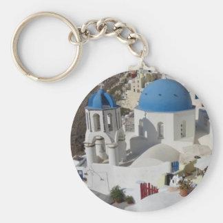 Mykonos Greece Travel Basic Round Button Keychain