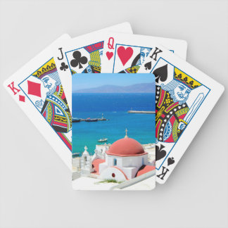 Mykonos Greek Island Hilltop Bicycle Playing Cards