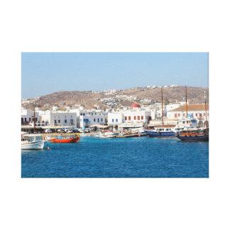 Mykonos Harbour, Greece Canvas Print