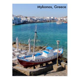 Mykonos Harbour, Greece Postcard