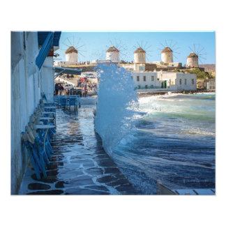 Mykonos Photos: Windmills and a Wall of Water Photo Art