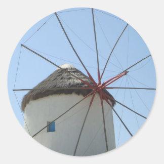 Mykonos Windmill Round Sticker