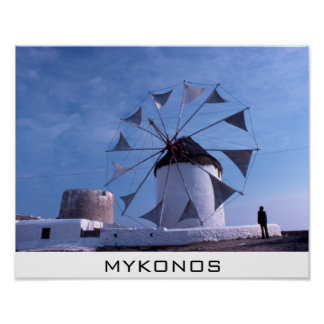 Mykonos windmill small poster