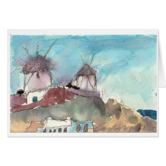 """""""Mykonos Windmills"""" watercolor art card"""