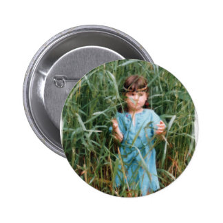 Mylune finding her path through the high grass 2 inch round button
