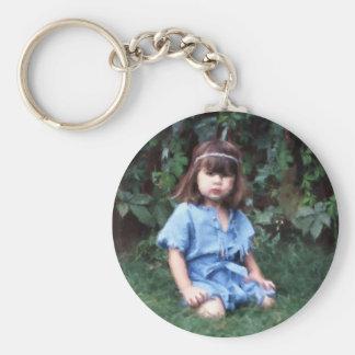 Mylune sitting in the grass basic round button keychain