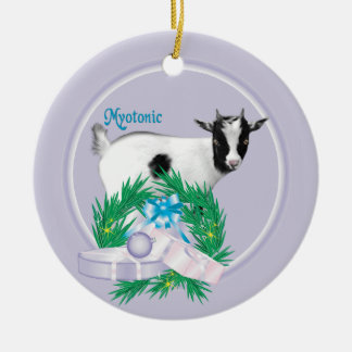 Myotonic Goat Wreath Holiday Ornament