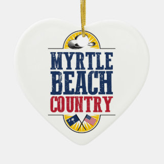 Myrtle Beach Country Ceramic Heart Ornament