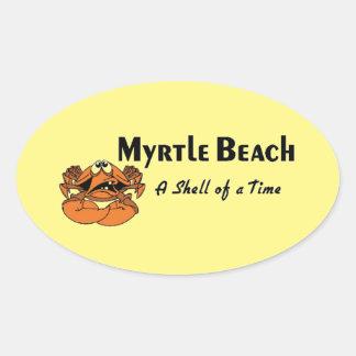 Myrtle Beach Crab Oval Sticker
