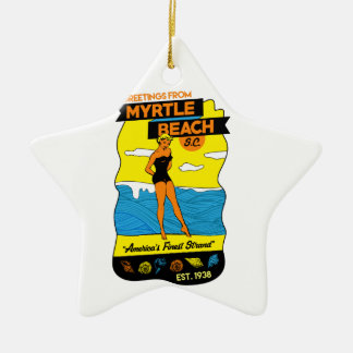 Myrtle Beach Postcard Ceramic Star Ornament