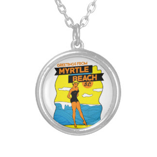 Myrtle Beach Postcard Silver Plated Necklace