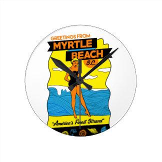 Myrtle Beach Postcard Wallclock