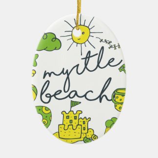 Myrtle Beach Script Ceramic Oval Ornament