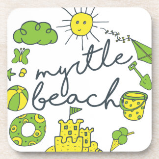 Myrtle Beach Script Drink Coaster