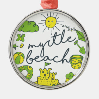 Myrtle Beach Script Silver-Colored Round Ornament