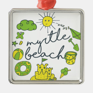 Myrtle Beach Script Silver-Colored Square Ornament