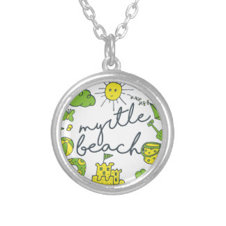 Myrtle Beach Script Silver Plated Necklace