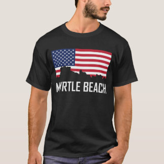 Myrtle Beach South Carolina Skyline American Flag T-Shirt