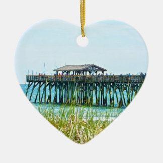 Myrtle Beach State Park Fisdhing Pier Ceramic Heart Ornament