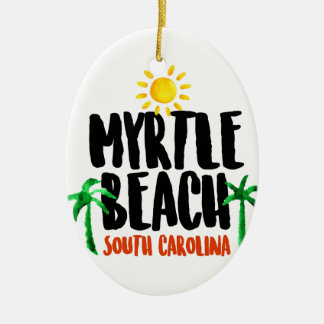Myrtle Beach Watercolor Ceramic Oval Ornament