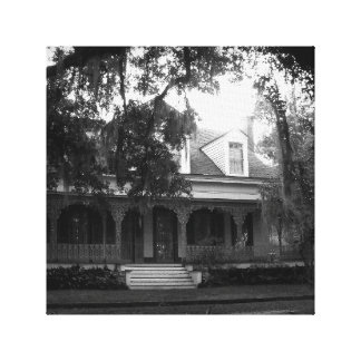 Myrtles Plantation in black and white Canvas Print