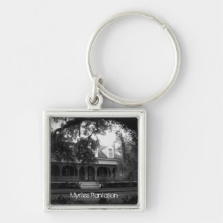 Myrtles Plantation in black and white Silver-Colored Square Keychain