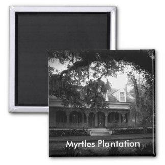 Myrtles Plantation in black and white Square Magnet