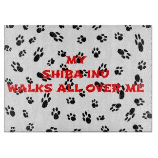 myshiba inu walks on me cutting board