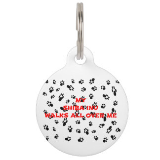 myshiba inu walks on me pet ID tag