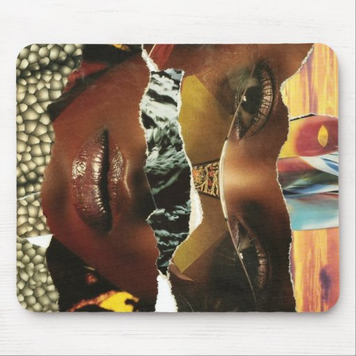 Mysterious Abstract Woman Collage Mouse Pad