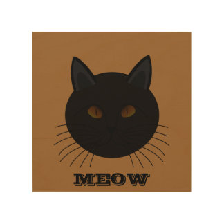 Mysterious Black Cat Face Brown Wood Canvas