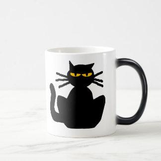 Mysterious Black Cat with Amber Eyes Magic Mug