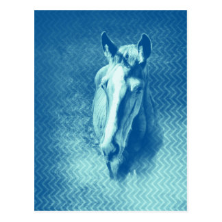 Mysterious blue horse vertical postcard