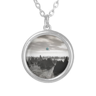 Mysterious Blue Orbs Silver Plated Necklace